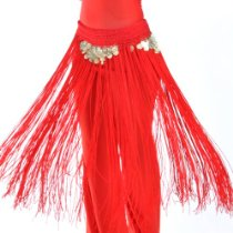 Handmade Fringe Coin Hip Scarf with Frills