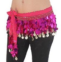Multi-Row Paillettes Hot Pink and Gold Coin Hip Scarf